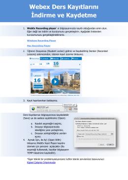 Webex Ders Kayıtlarını İndirme ve Kaydetme