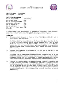 23/05/2014 Tıp Fakültesi Yönetim Kurulu Kararı