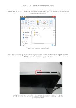 GRUNDIG STYLE TAB GR-TB7 Tablet Restore Kılavuzu Öncelikle