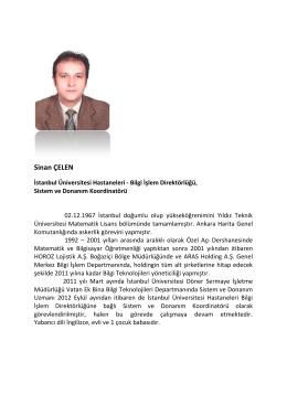 Sinan ÇELEN - İstanbul Üniversitesi Hastaneleri