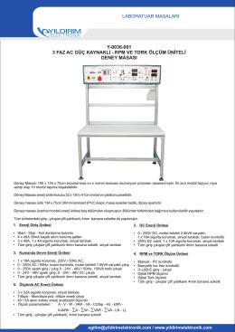 laboratuar masaları y-0036-001 3 faz ac güç kaynaklı