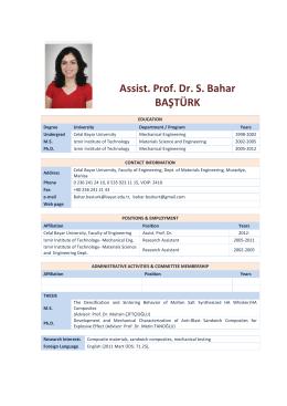 Assist. Prof. Dr. S. Bahar BAŞTÜRK
