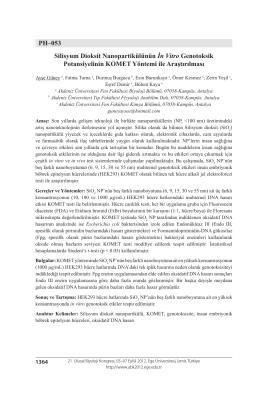 PH–053 Silisyum Dioksit Nanopartikülünün İn Vitro Genotoksik