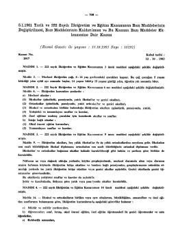 5.1.1961 Tarih ve 222 Sayılı ilköğretim ve Eğitim