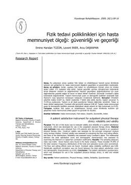 Fizik tedavi poliklinikleri için hasta memnuniyet ölçeği: güvenirliği ve