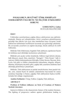 GORBATKİNA, Galina-FOLKLORUN, BUGÜNKÜ TÜRK
