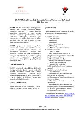 ERA-MIN Projesi 2014 Yılı Çağrı İlanı