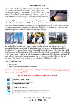 gap inşaat staj ilanı - İstanbul Ticaret Üniversitesi