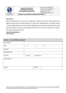 GDM.A.05-SAU İşyeri Staj Anketi - Gıda Mühendisliği