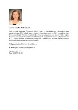 Uzm. Fzt. Yeliz SALCI - Fizik Tedavi ve Rehabilitasyon Bölümü