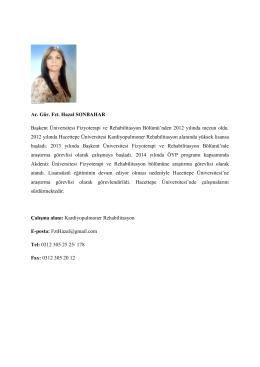 Fzt. Hazal SONBAHAR - Hacettepe Üniversitesi