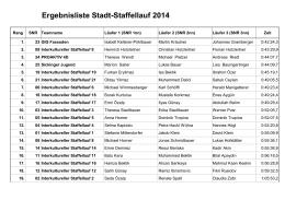 Ergebnisliste Stadt-Staffellauf 2014
