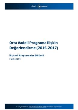 Orta Vadeli Programa İlişkin Değerlendirme