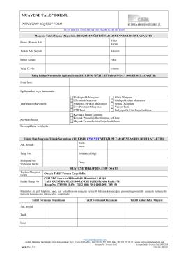 Muayene Talep Formu - CSM NDT SERVİS ve MÜHENDİSLİK