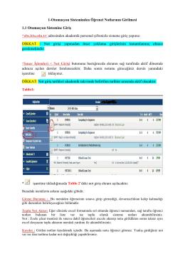 1-Otomasyon Sisteminden Öğrenci Notlarının Girilmesi 1.1