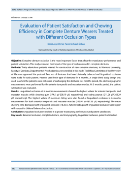 Evaluation of Patient Satisfaction and Chewing Efficiency