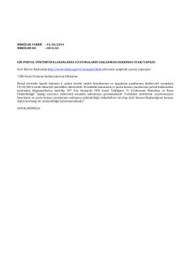Sirküler 2014-065 - GİB-PORTAL YÖNTEMİ KULLANANLARDA E