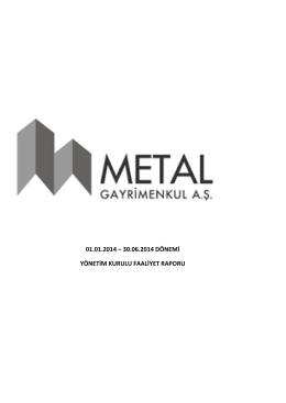 01.01.2014 – 30.06.2014 dönemi yönetim kurulu faaliyet raporu