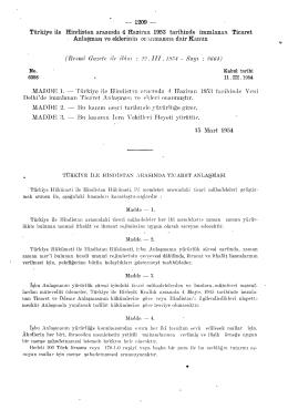 Türkiye ile Hindistan arasında 4 Haziran 1953