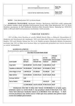 KONU: Ordu Belediyesinin 2013 yılı Kesin Hesabı. KOMİSYON