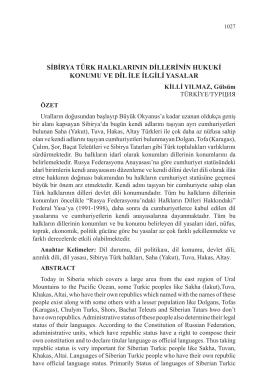 sibirya türk halklarının dillerinin hukuki konumu ve dil ile ilgili