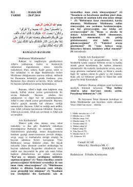 28.07.2014 Ramazan Bayramı (Bayram Hutbesi)
