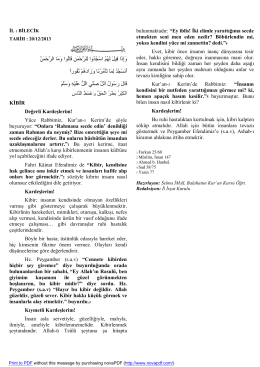 Kibir 20.12.2014 - Bilecik İl Müftülüğü