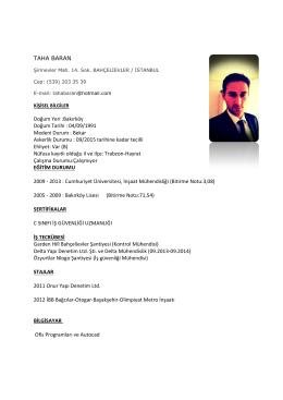 TAHA BARAN Doğum Yeri :Bakırköy Doğum Tarihi : 04/09/1991