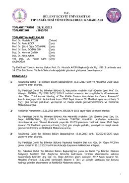 21/11/2013 Tıp Fakültesi Yönetim Kurulu Kararı