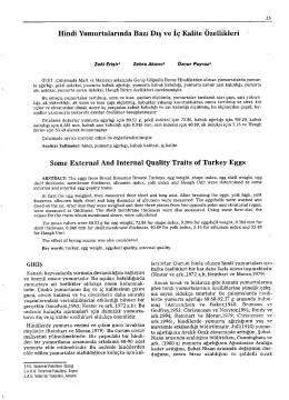 Cilt 1 Sayi 1 Makale 5 Hindi Yumurtalarında Bazı Dış ve İç Kalite