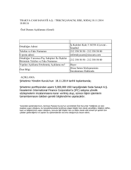 18.11.2014 Soda Hisse Satış Sözleşmesinin