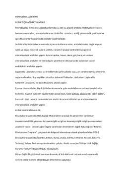 Birim İş Tanımı - İstanbul Halk Sağlığı Müdürlüğü