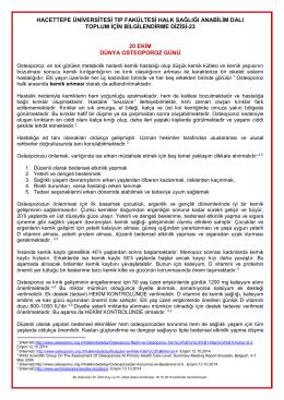 20 ekim dünya osteoporoz günü - Hacettepe Üniversitesi Tıp