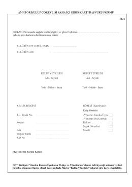 amatör kulüp görevlisi saha içi giriş kartı başvuru formu