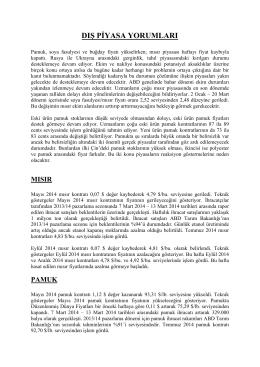 21 mart 2014 tarihli haftalık dış piyasa yorumları