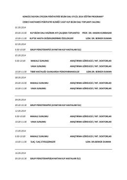 Eylül 2014 Cebeci - Konsültasyon Liyezon Psikiyatrisi Bilim Dalı