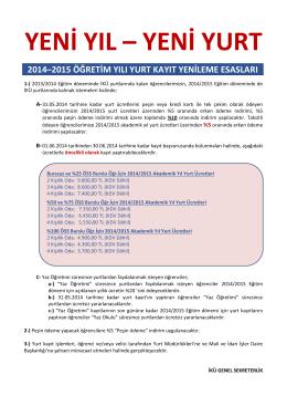 100 ÖSS Burslu Öğr.İçin 2014/2015 Akademik Yıl Yurt Ücretleri