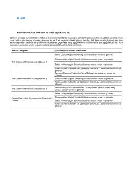 Kurulumuzun 20.06.2014 tarih ve 19/599 sayılı Kararı ile