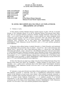 il genel meclisinin 2014 yılı nisan ayı toplantısı ııı. birleşimine ait