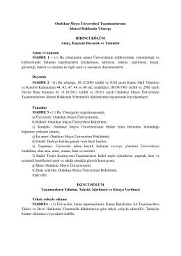 Ondokuz Mayıs Üniversitesi Taşınmazlarının İdaresi Hakkında