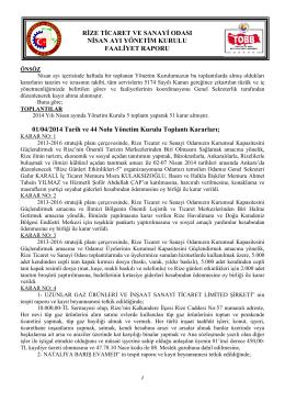 Nisan 2014 Faaliyet Raporu - Rize Ticaret ve Sanayi Odası