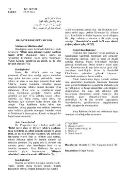 25.07.2014 Tarihli Hutbe : İBADETLERDE DEVAMLILIK