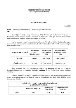 2013 Vergilendirme D - İzmir Vergi Dairesi Başkanlığı