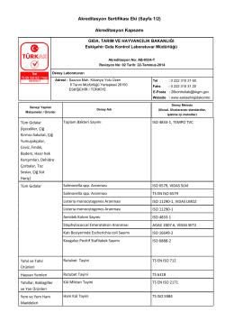 Akreditasyon Kapsamı - Gıda Kontrol Laboratuvar Müdürlükleri