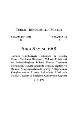 SIRA SAYISI: 658 - Türkiye Büyük Millet Meclisi