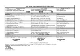 Ekim-2014 Aylık Yemek Listesi