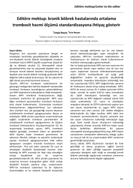 Editöre mektup: kronik böbrek hastalarında ortalama