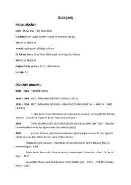 CV - Mimarlık Bölümü