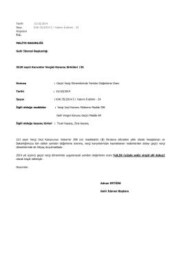 Tarih 15/10/2014 Sayı KVK-35/2014-5 / Yatırım