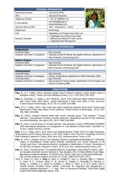 Tulin KILIC - TC Gıda Tarım ve Hayvancılık Bakanlığı